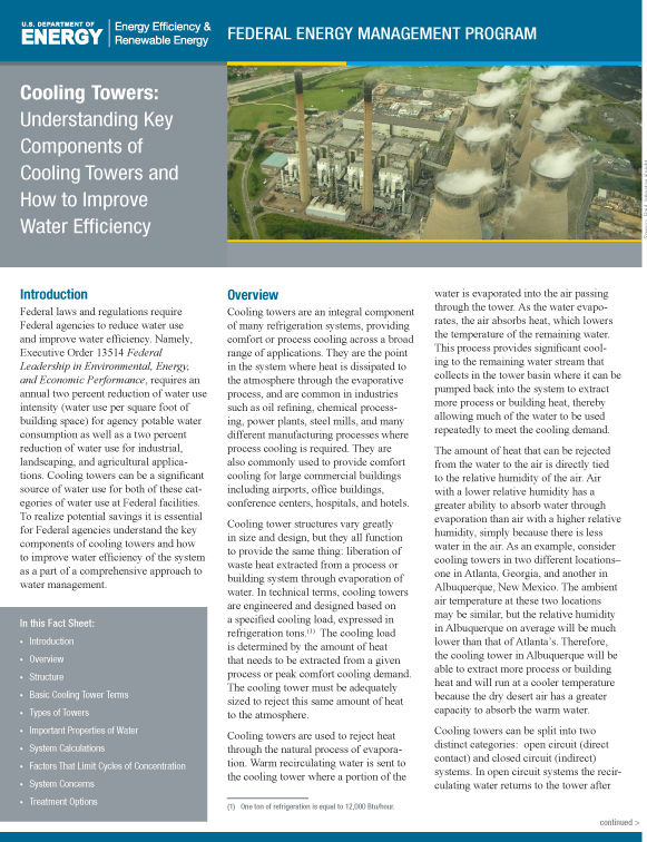 FEMP paper: Cooling Towers: Components of Cooling Towers and How to Improve Water Efficienty